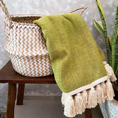 Lime Green Raw Cotton Throw With White Tassels