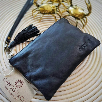 Small Multi-Color Very Soft Leather Clutches With Tassel - Canggu & Co