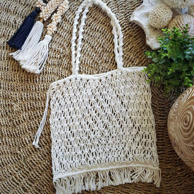 White Woven Cotton Square Shaped Macrame Bag With Fringe