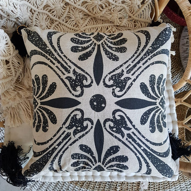 Black Printed Motif On Cotton Linen Cushion With Tassels - Canggu & Co