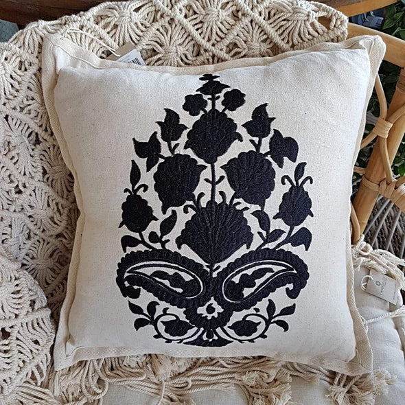 Embroided Black Motif On Natural Linen Cotton Cushion - Canggu & Co