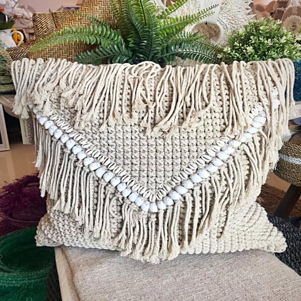 Macrame Cushion With Shell & Fringe - Canggu & Co