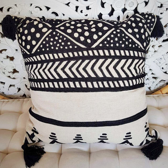 Black & Natural Abstract Design Cotton Linen Cushions - Canggu & Co