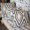 Black Diamond Motif Raw Cotton Cushions With Beaded Tassels
