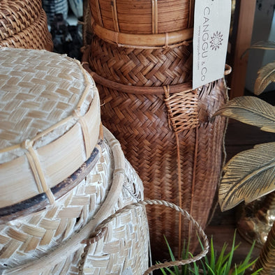 Tall Rattan Storage Baskets With Lids - Canggu & Co