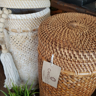 Cylinder Shaped Tall Rattan Baskets With Lids - Canggu & Co