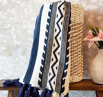 Navy Blue Tribal Pattern Raw Cotton Throw With Tassels - Canggu & Co
