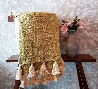 Baby Green Soft Raw Cotton Throw With Natural Tassels - Canggu & Co