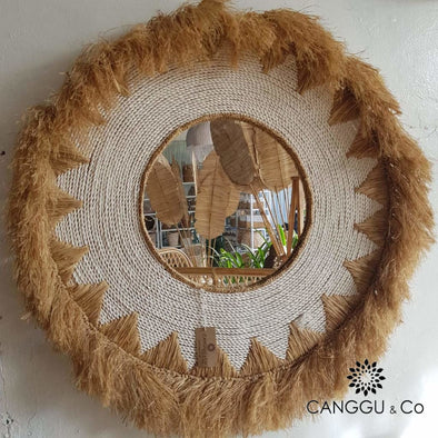 Large Straw Grass & White Raffia Mirror With Fringe