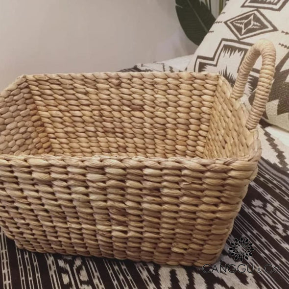 Rectangle Shaped Woven Water Hyacinth Baskets With Handle Medium Basket