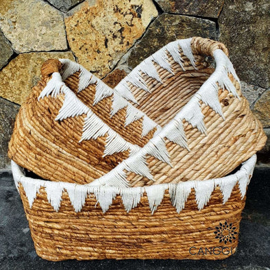 Rectangular Banana Leaf Basket Sets With Macrame Set Of 3