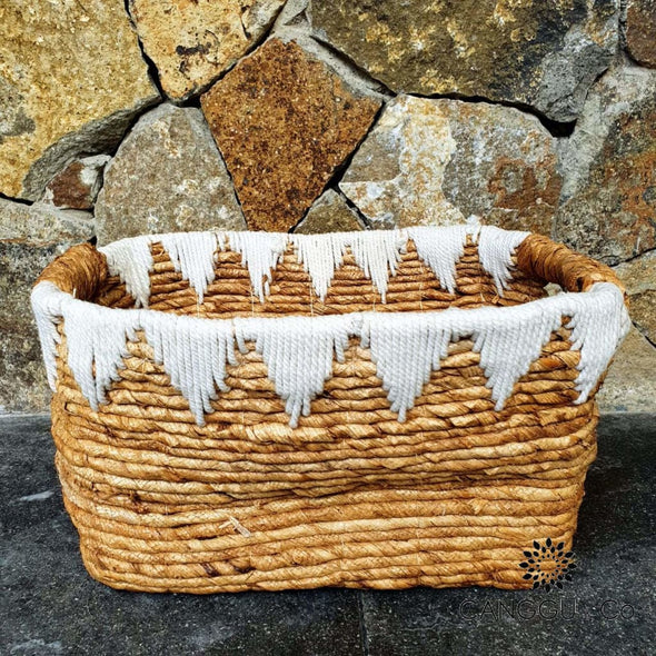 Rectangular Banana Leaf Basket Sets With Macrame Small