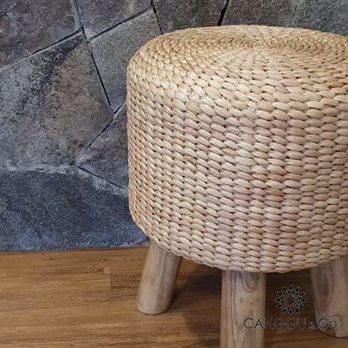 Round Water Hyacinth Stool With Long Wooden Legs
