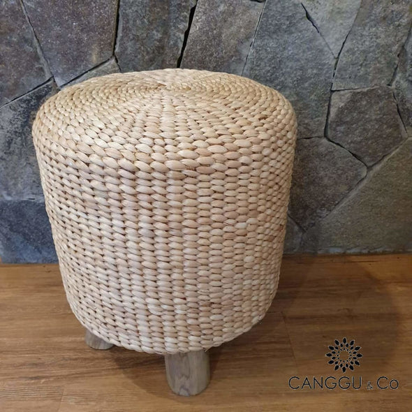 Round Water Hyacinth Stool With Short Wooden Legs