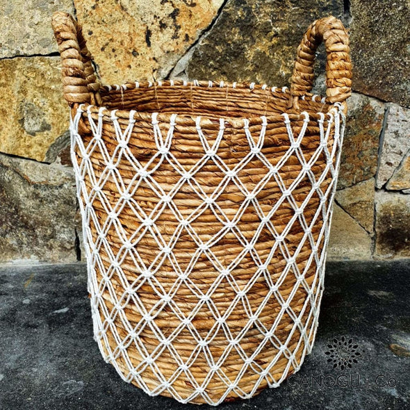 Tall Banana Leaf And Macrame Basket Sets Small