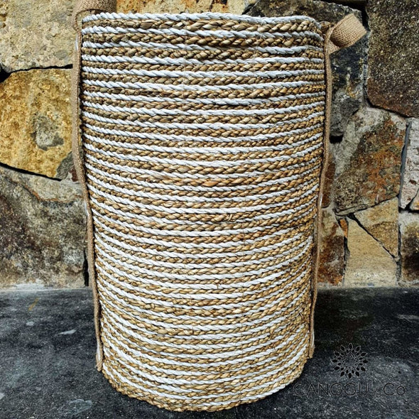 Tall White & Natural Raffia Banana Leaf Basket Sets Large