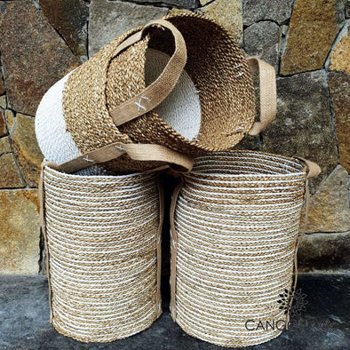 Tall White & Natural Raffia Banana Leaf Basket Sets Set Of 2