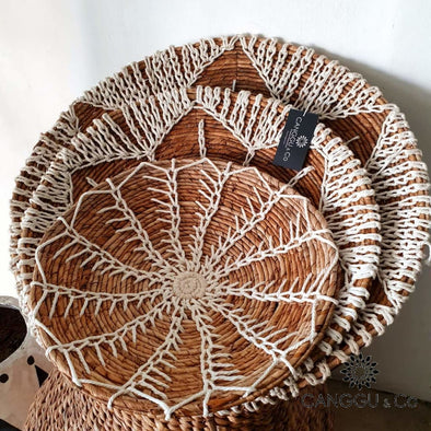 Water Hyacinth & Macrame Wall Plates Set Set Decor