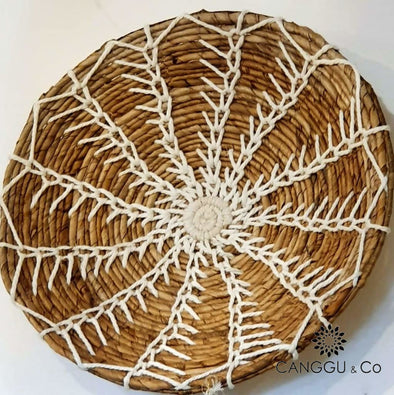 Water Hyacinth & Macrame Wall Plates Set S Decor