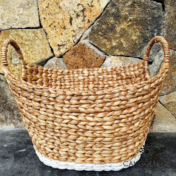 White & Natural Oval Shaped Water Hyacinth Basket Sets Small