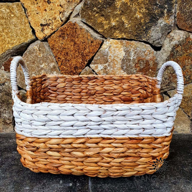 White & Natural Rectangle Shaped Woven Water Hyacinth Basket Sets Small