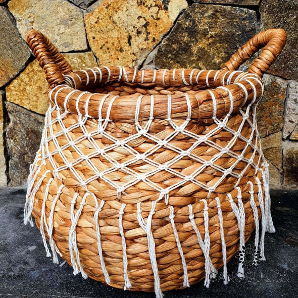 Woven Water Hyacinth Barrel Baskets With Macrame Basket