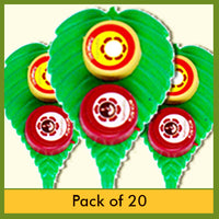 "Shastha - Big Plastic Leaf Turmeric & Kumkum - "" Pack of 20 """