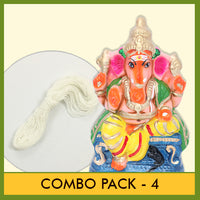 Eco Friendly (Seed Ganesha) - Combo Pack 4 (Contains 2 Items: Eco Friendly Idol 9 Inch Colour Clay - 1 & Poonal -1)