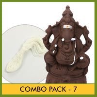 Eco Friendly (Seed Ganesha) - Combo Pack 7 (Contains 2 Items: Eco Friendly Idol 10.5 Inch Plain Clay - 1 & Poonal -1)