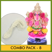 Eco Friendly (Seed Ganesha) - Combo Pack 8 (Contains 2 Items: Eco Friendly Idol 10.5 Inch Colour Clay - 1 & Poonal -1)