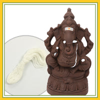 Eco Friendly (Seed Ganesha) - Combo Pack 6 (Contains 2 Items: Eco Friendly Idol 8 Inch Plain Clay - 1 & Poonal -1)