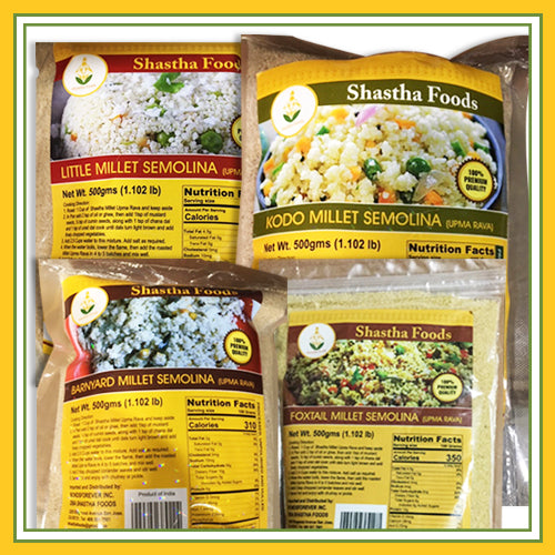 Millet Family - Healthy Choice Combo B  (Grains included)+ Choose any 2 Millet Upma Rava