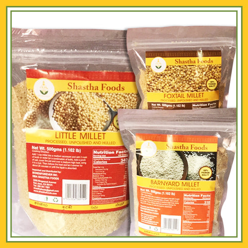 Millet Family - Healthy Choice Combo A ( 3 Millet Grains included.) Choose Millet Upma Rava &  Millet Flour)