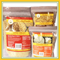 Millet Family - Healthy Choice Combo A ( 3 Millet Grains Packet included. Choose only Millet Upma Rava &  Millet Flour)