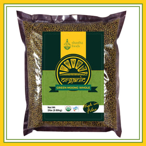 Shastha Organic Whole Green Moong Dal 2 lbs
