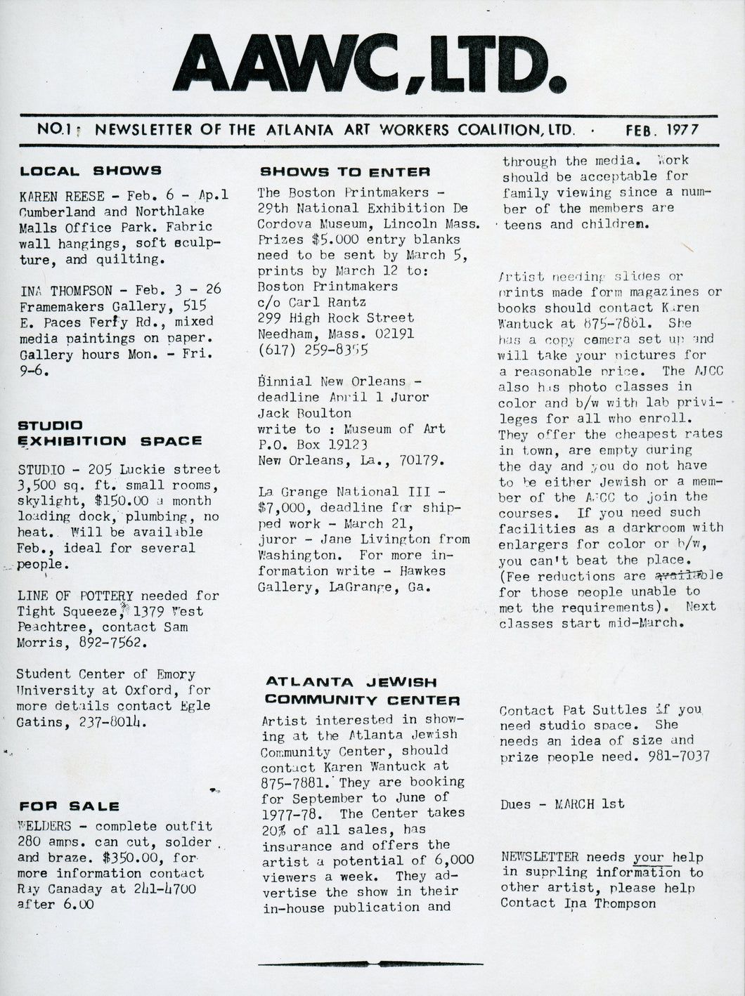 ART PAPERS 01.01 - Jan/Feb 1977 - SOLD OUT