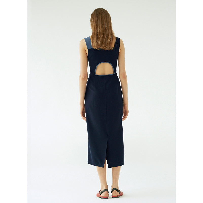 Unbalance Sleeveless Dress(Navy Blue)