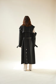 Button Trench Coat (Black)