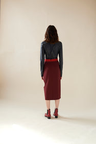Color Blocking Skirt(Red)