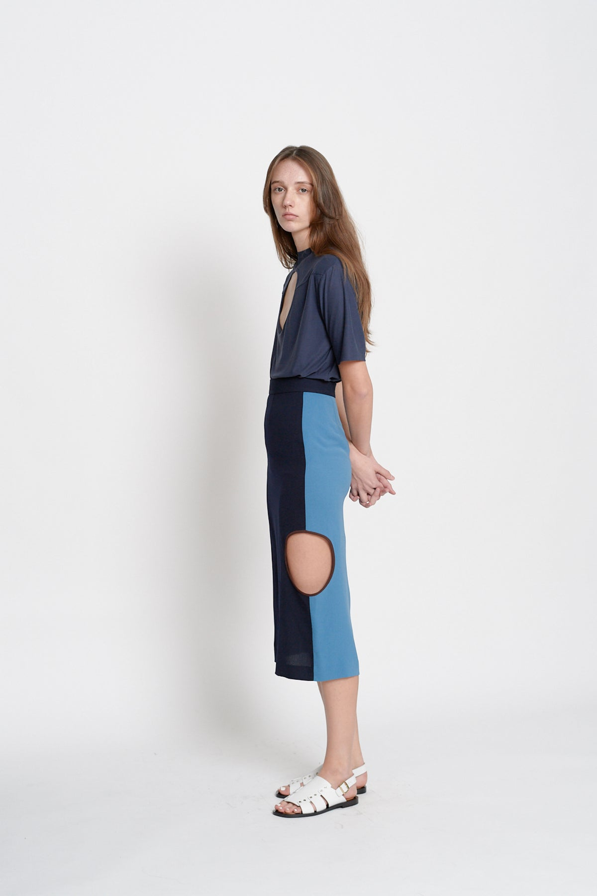 Color Blocking Skirt (Blue)