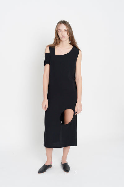 Unbalanced Sleeveless Dress (Black)