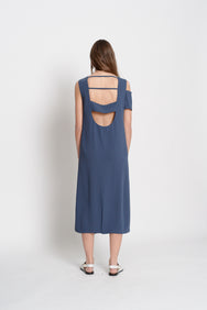 Unbalanced Sleeveless Dress (Light Navy)