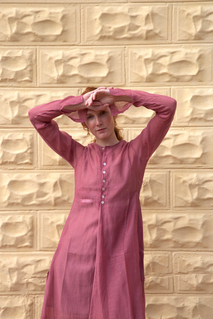 Raanee Khadi Dress in Deep Rose