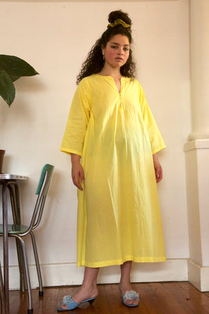 Raja Cotton Dress in Lemon