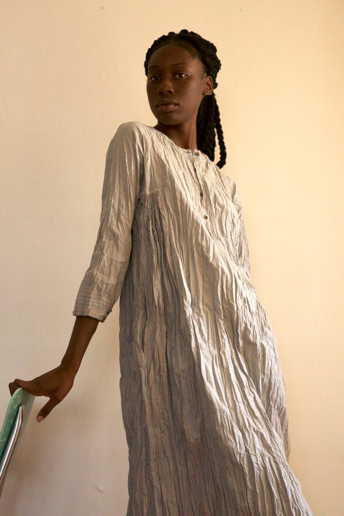 Tatenda Cotton Dress in Soft Grey