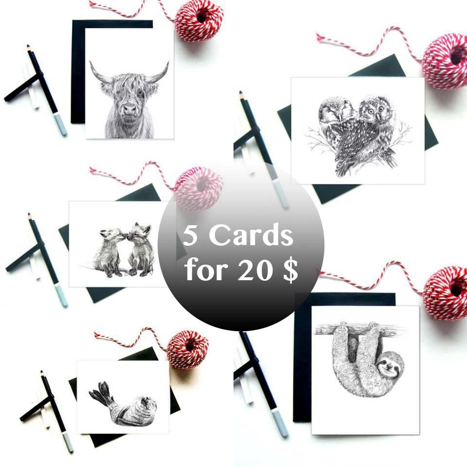 Greeting Cards Bundle - 5 greeting Cards for 20