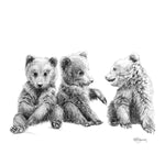 3 Brown Bear Cubs - Nursery wall art - chambre bebe garçon