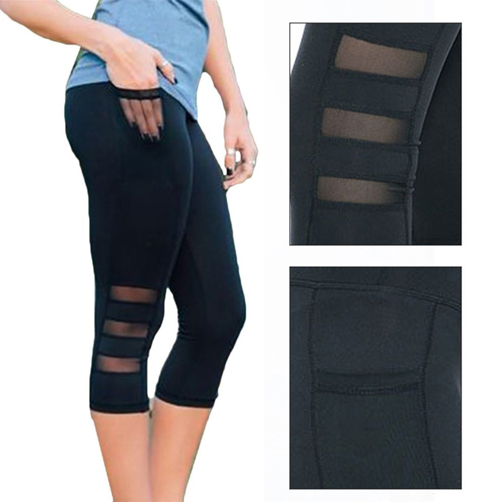 pretty nice top-rated quality best collection Black Mesh Yoga Leggings With Cell Phone Pocket #WOMEN