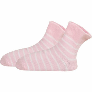 Baby Girl Pink Socks With White Stripes, Turkish Softest Mercerized Cotton, Super Breathable, Comfy, Moisture Wicking, Hand Linked Toes and Seamelss