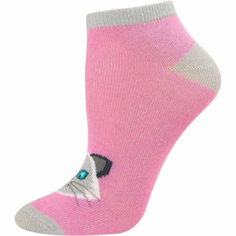 SOXESSORY 2019 $8.99 Girls Favorite Cat Print Pink Mercerized Cotton